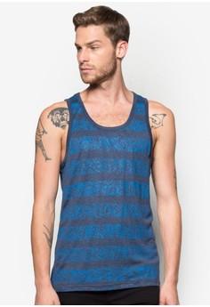 Printed Stripes W/ Leaves Tank Top