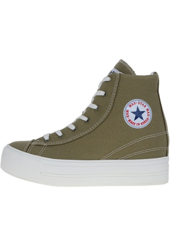 Maxstar 綠色 新款韩国鞋C2時尚帆布布混合女綠色 US Women Size MA345SH14HEFTW_1