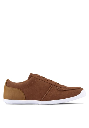 ZALORA brown Faux Suede Leather Trainers 63291SH73DF72FGS_1