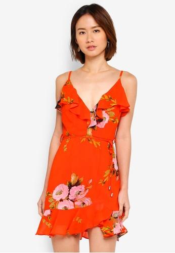 INDIKAH orange Floral Ruffle Dress 2A788AA283D2A0GS_1