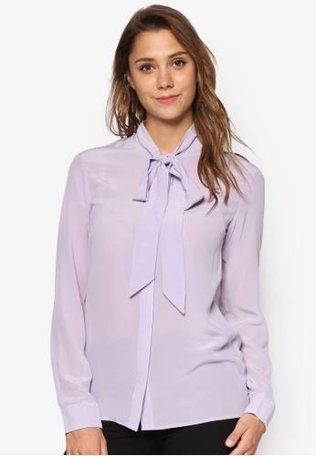 WAREHOUSE purple Silk Tie Neck Blouse WA653AA90ELDMY_1