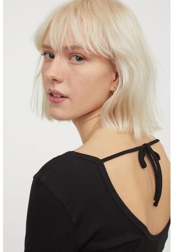 H&M black Ribbed dress F5997AA1F32C3EGS_1
