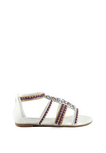 London Rag white Stormie T-Strap Gladiator Sandals BC019SH649C415GS_1