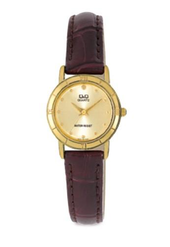 Q&Q esprit台灣網頁Q857-100Y 金屬圓框手錶, 錶類, 皮革錶帶