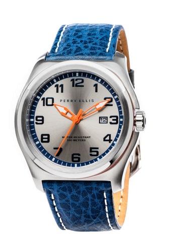 Perry Ellis black and blue and silver Perry Ellis Memphis Men 44mm Quartz Watch 04004-01 35F6CACC510466GS_1