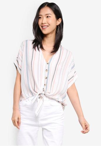 Dorothy Perkins multi Petite Multi Stripe Tie Shirt 66544AAFA423F5GS_1