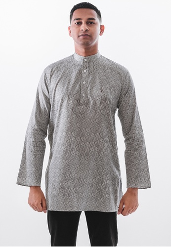 Achaboy grey and white Achaboy Kurta - Egypt Cotton - Grey x White 0B6E4AAB745D43GS_1