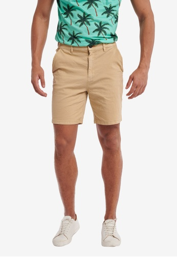 Shiwi beige Stretch Cotton Shorts CABE8AACD1AD45GS_1