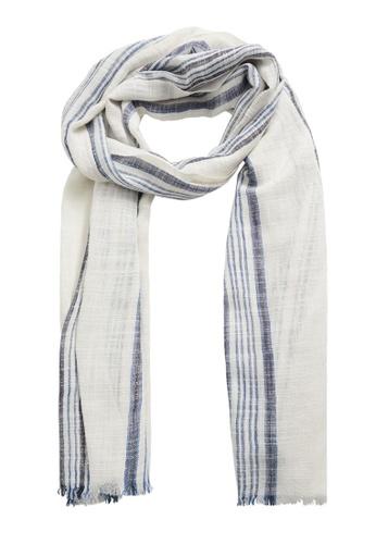 MANGO Man white Stripe-Pattern Cotton Scarf F016CACDE6541FGS_1