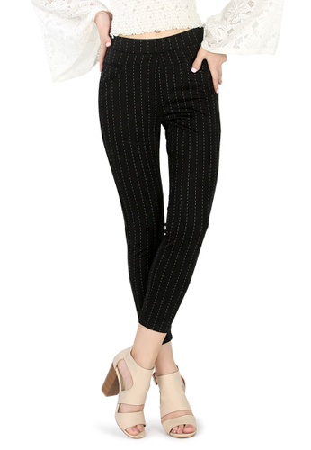 London Rag black Black Casual Pants With White Stripes 2A0E2AA41E298AGS_1