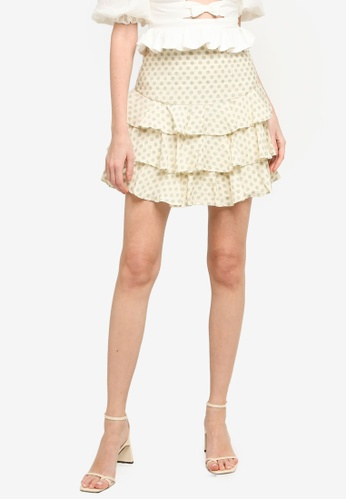 INDIKAH green Tiered Ruffle Hem Mini Skirt 49E60AA20436C3GS_1