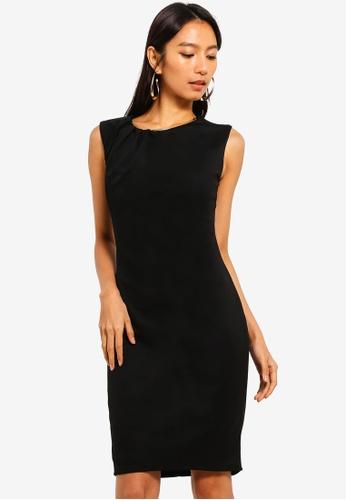 Goddiva 黑色 金屬飾褶飾洋裝 A8E45AA2CDD0C1GS_1