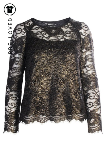 DKNY gold Pre-Loved dkny Golden Lace Top C4BE0AA3CEB225GS_1