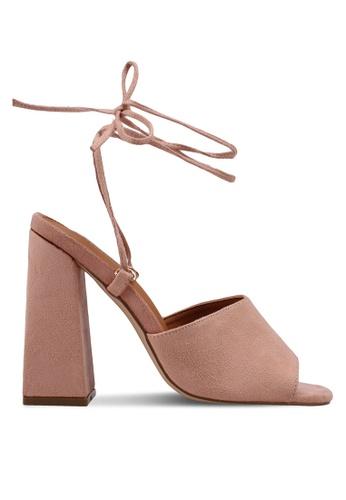 Public Desire 粉紅色 交叉綁帶粗跟鞋 35CF6SH161E82BGS_1
