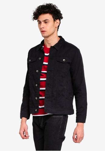 Penshoppe 黑色 帆布休閒夾克 A72A5AAEAFBA12GS_1