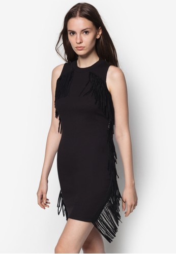 麂皮流蘇貼zalora 泳衣身洋裝, 服飾, 服飾