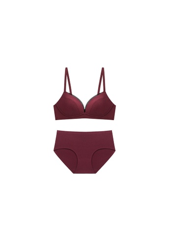 ZITIQUE red Non-Wired Bra Set - Red B7F5EUSF13EAB9GS_1