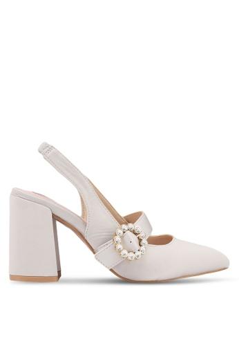 Velvet beige Embellished Buckle Heels A29D9SHEED10D2GS_1