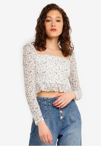 de3418aaf14 Buy Miss Selfridge Ivory Floral Lace Puff Sleeve Top