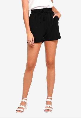 ZALORA BASICS black Ruched Waistband Shorts F3CB5AAD7E8BBAGS_1