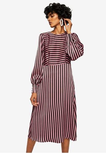 Mango pink Striped Midi Dress 06CBBAA37BF5DEGS_1