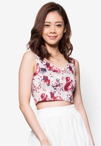花卉無袖短版zalora 台灣上衣, 服飾, 服飾