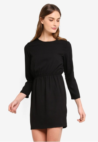 ZALORA BASICS black Basic Open Back Mini Dress 9B62FAA493A865GS_1