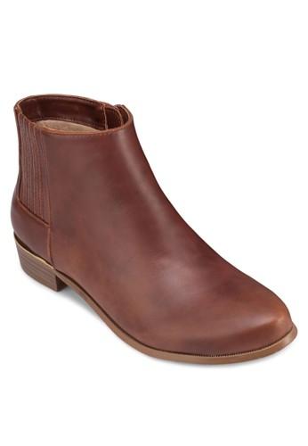 亮面金飾低跟踝靴, 女鞋, zalora 順豐靴子