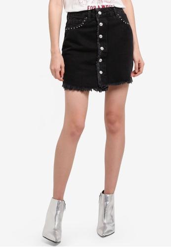 Mango grey Studded Denim Skirt 8A310AAE17B95FGS_1