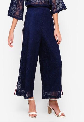 bYSI blue Lace Side Stripe Zipper Pants D2385AA0BAA7D0GS_1