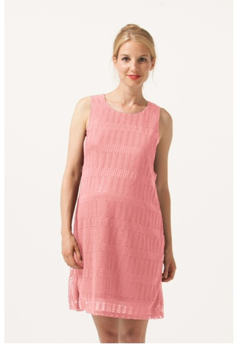 Bove by Spring Maternity pink Woven Sl Elaine Full Lace Nursing Dress Coral Blush EE811AA014DDA4GS_1