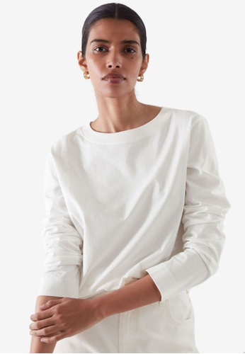 COS white Wide Neck Long Sleeve T-Shirt E9F47AAC0F875BGS_1