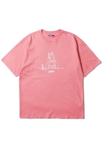 BLOCKAIT pink Akita Ken graphic tee EE78FAA5D2C874GS_1
