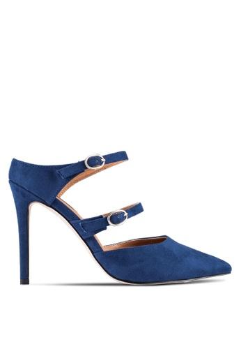 ZALORA 海軍藍色 多色 Strap Mule 高跟鞋 50D6EZZ02E4346GS_1