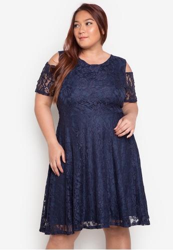 plus size luxury charm lace cold shoulder dress - ashley
