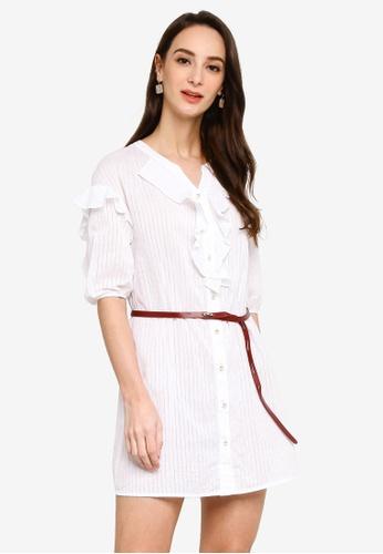 Hopeshow white Ruffle Button Mini Shirt Dress with Belt 32319AAB6DA326GS_1