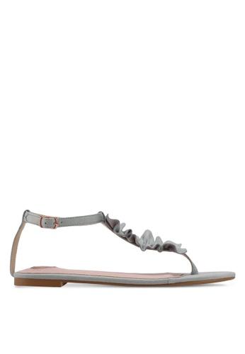 Velvet green Ruffled Sandals A6DB1SHCBB6B56GS_1