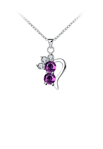 Glamorousky purple Fashion Personalized Geometric Pendant with Purple Cubic Zircon and Necklace 01DF4AC5ABEC02GS_1