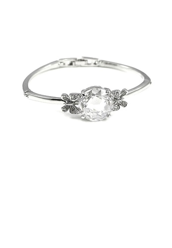 Glamorousky silver Elegant Butterfly Bangle with Silver Austrian Element Crystal 20605ACB7D5FF1GS_1