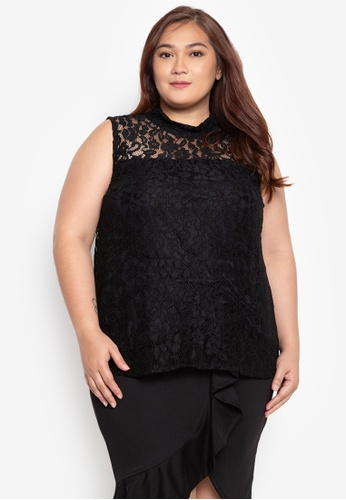 4323b16a36f Ashley Collection Plus black Plus Size High Neck Sleeveless Lace Top  1F3B6AA2D36D69GS 1