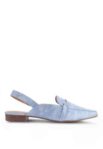 Noveni 藍色 鱷魚紋平底鞋 08F4CSH1FA1144GS_1
