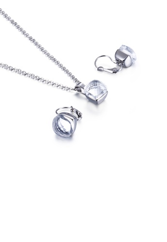 Glamorousky white Fashion Simple Geometric Square 316L Stainless Steel Necklace and Earring Set with White Cubic Zirconia 63EAFACF50D75DGS_1