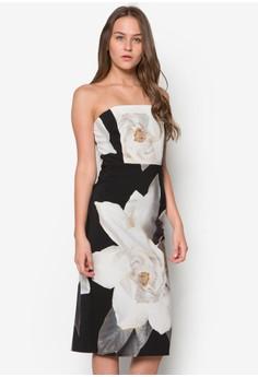 Black Floral Printed Strapless Dress