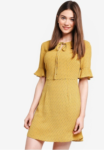 Something Borrowed yellow Flutter Sleeves Fit And Flare Dress F3C72AA6610225GS_1
