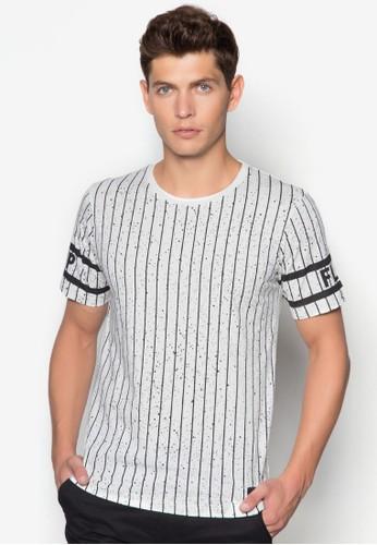 撞esprit bag色條紋噴漆T 恤, 服飾, 服飾