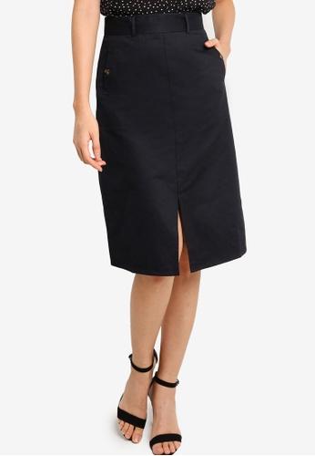 ZALORA BASICS black Front Slit A Line Skirt 0A5B0AA35C8E7AGS_1