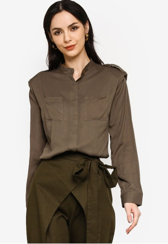 Zalia green Front Pocket Shoulder Pad Shirt 716B7AA49E6311GS_1