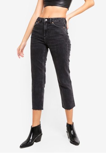 TOPSHOP 黑色 Washed Black Raw Hem Straight Leg Jeans DB841AAF200618GS_1