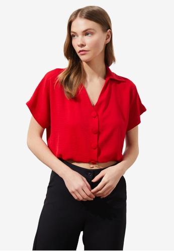 Trendyol red Short Sleeve Elastic Waist Crop Shirt 22639AAD0652E4GS_1