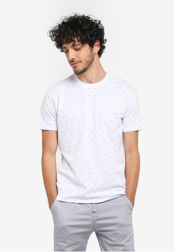 Fidelio white Micro Printed Small Leaves Round Neck T-Shirt F9DCCAA28B121CGS_1